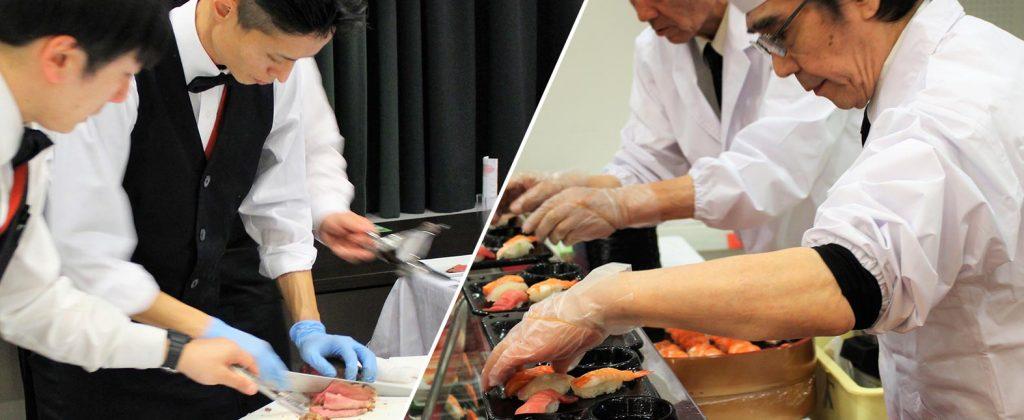 出張Liveで特別な演出を! お寿司にローストビーフまでプロの味を満喫!